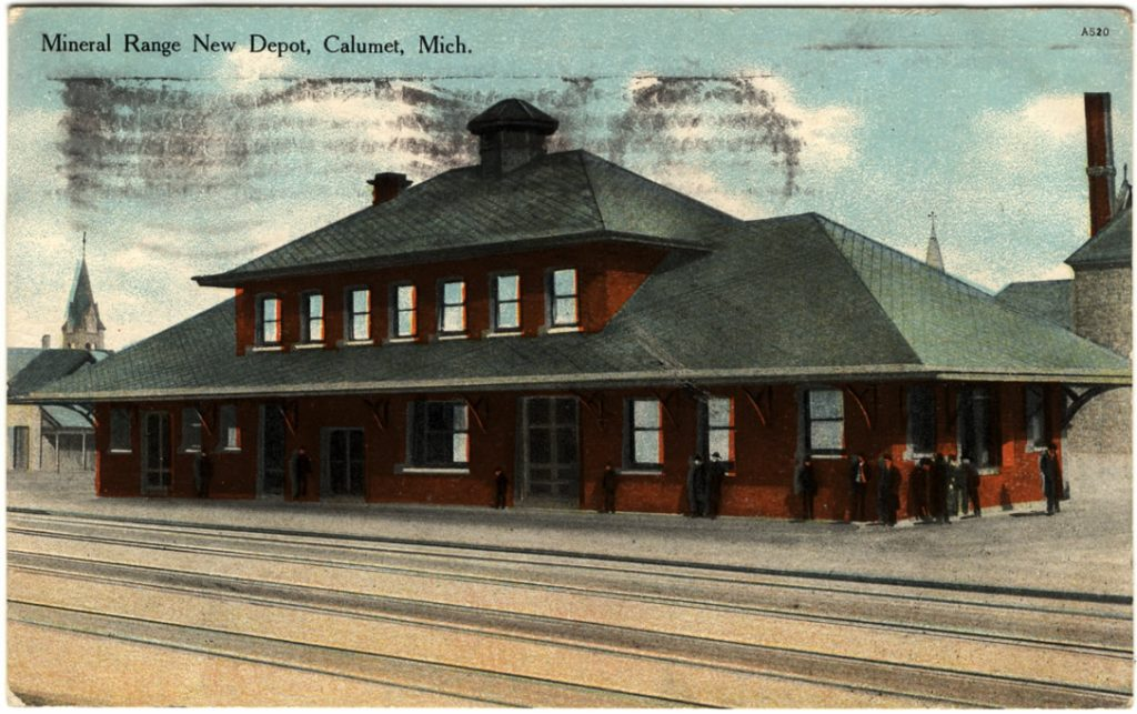 Mineral Range RR Depot, postcard view. Courtesy Keweenaw National Historical Park.