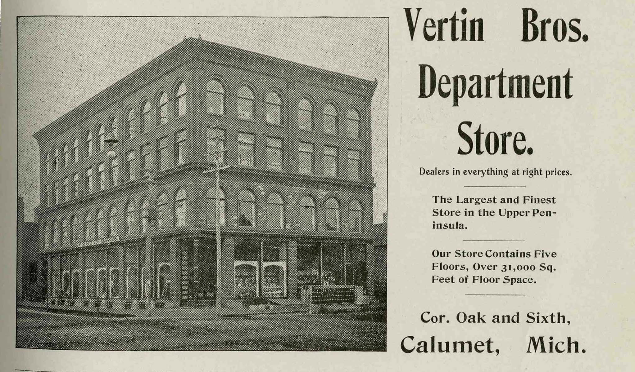 Vertin's Department Store — Copper Country Architects