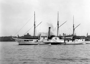 Port broadside view of the gunboat Michigan sometime between between 1890 and 1901 (navsource.org)