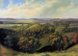 Painting of the battlegrounds with the Wisconsin River in the background by S.M. Brooks (From Wikimedia.org)