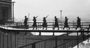 Troops patrolling the gates of the Soo Locks, Sault Ste. Marie, MI, 1940's. (MyNorth)
