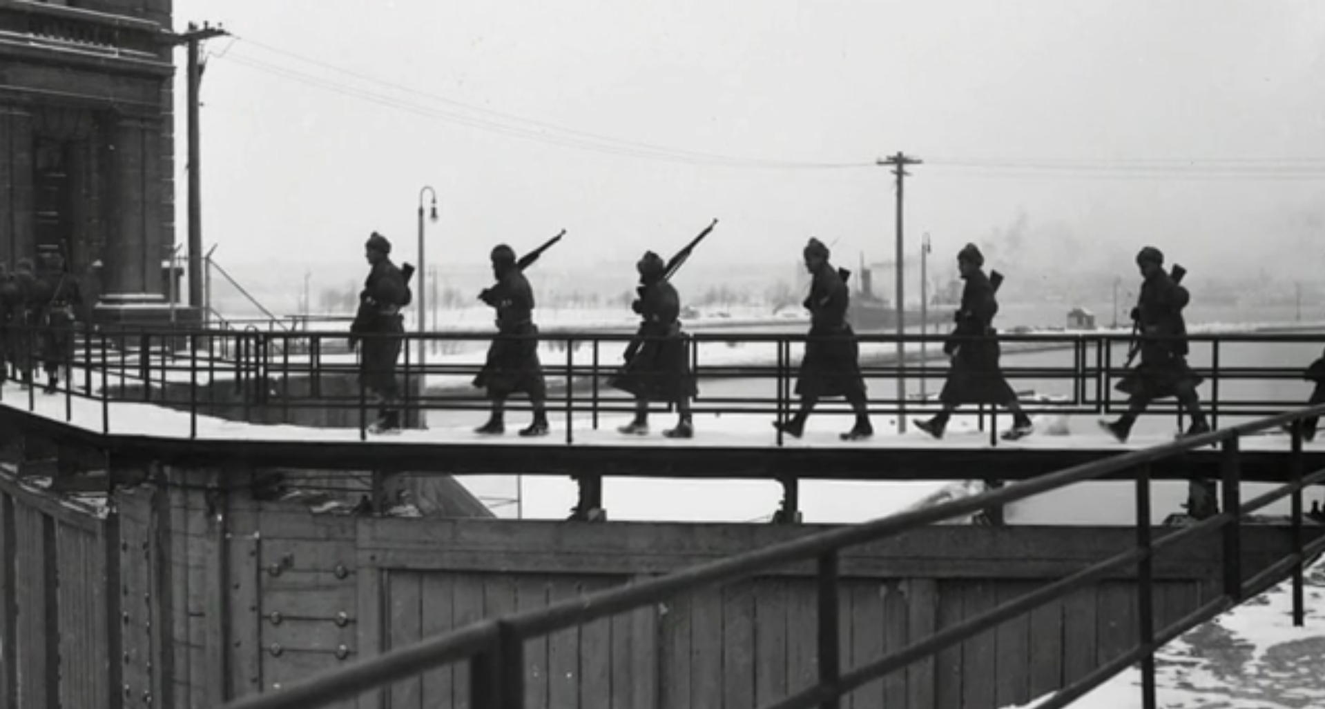 Troops patrolling the gates of the Soo Locks, Sault Ste. Marie, MI, 1940's. (MyNorth)