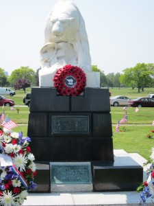 Front of monument with plaque visible at base