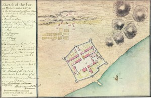 Figure 2: Lieutenant Perkins Magna's drawing of Fort Michilimackinac in 1765 (taken from www.mackinacparks.com/the-four-maps-of-michilimackinac/)