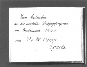 German home address of one of the prisoners - Photo use courtesy of Sparta Township Historical Society