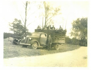 Bringing prisoners out to the orchard -Photo use courtesy of Sparta Township History Society