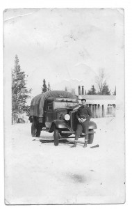 A truck and unidentified man (soldier?) in the winter (Courtesy of Bob Taunt)