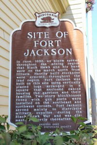 Fort Jackson Land Marker Located in Mineral Point Wisconsin (Source: From Wisconsin Historical Markers)